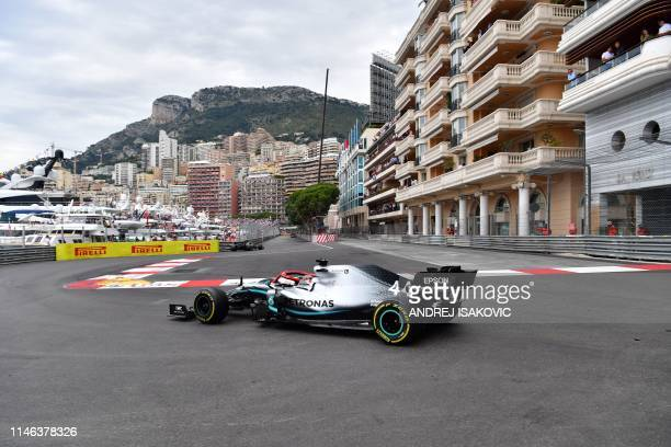 Mercedes' British driver Lewis Hamilton competes to win during the Monaco Formula 1 Grand Prix at the Monaco street circuit on May 26 2019 in Monaco