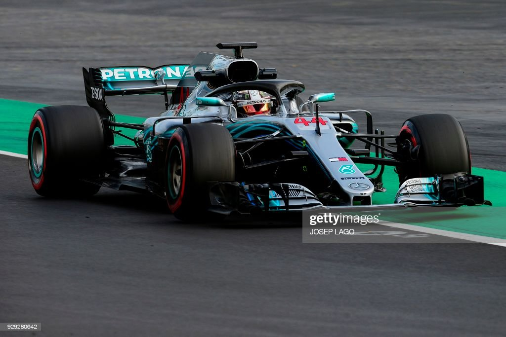 Mercedes' British driver Lewis Hamilton drives at the Circuit de Catalunya on March 8, 2018 in Montmelo on the outskirts of Barcelona during the third day of the second week of tests for the Formula One Grand Prix season. / AFP PHOTO / Josep LAGO