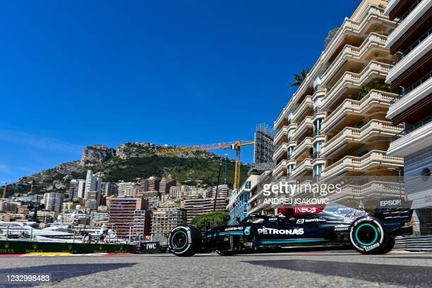 Mercedes' British driver Lewis Hamilton drives during the first practice session at the Monaco street circuit in Monaco, on May 20 ahead of the...