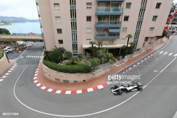 Mercedes' British driver Lewis Hamilton drives during the first practice session at the Monaco street circuit on May 24, 2018 in Monaco, ahead of the...