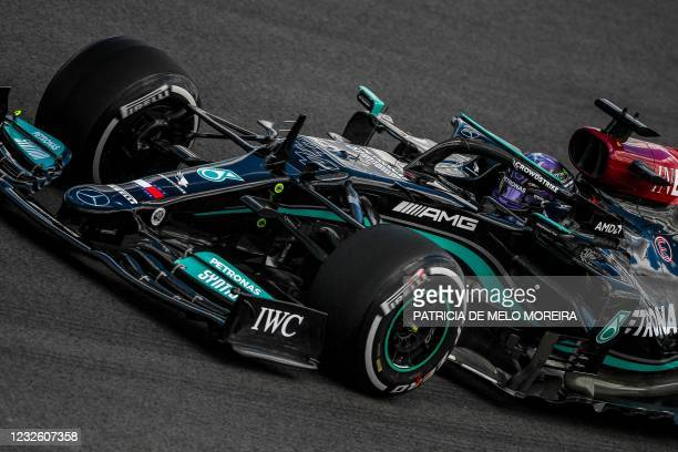 Mercedes' British driver Lewis Hamilton drives during the first practice session of the Portuguese Formula One Grand Prix at the Algarve...
