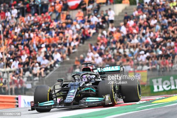 Mercedes' British driver Lewis Hamilton drives during the Formula One Austrian Grand Prix at the Red Bull Ring race track in Spielberg, Austria, on...