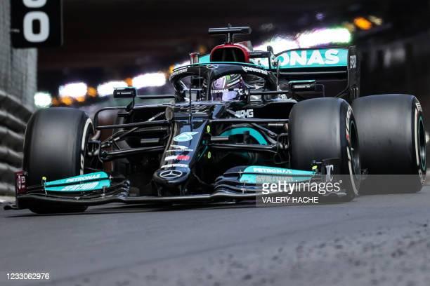 Mercedes' British driver Lewis Hamilton drives during the Monaco Formula 1 Grand Prix at the Monaco street circuit in Monaco, on May 23, 2021.