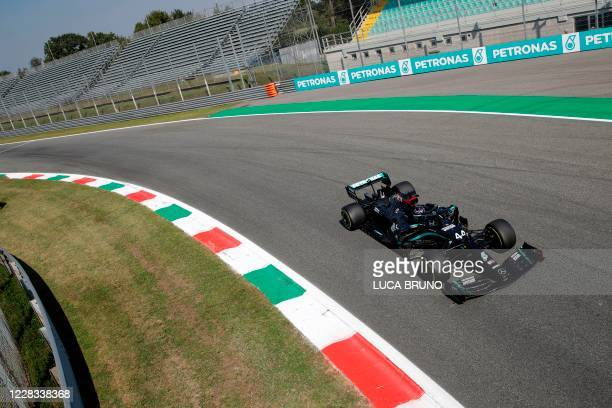Mercedes' British driver Lewis Hamilton drives during the second practice session at the Autodromo Nazionale circuit in Monza on September 4, 2020...