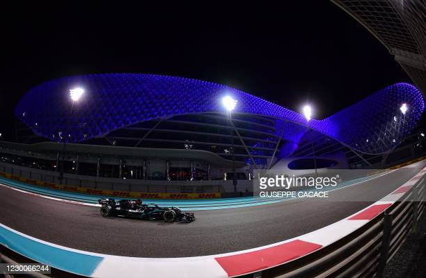 Mercedes' British driver Lewis Hamilton drives during the second practice session ahead of the Abu Dhabi Formula One Grand Prix at the Yas Marina...