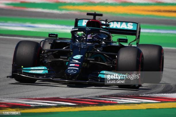 Mercedes' British driver Lewis Hamilton drives during the third practice session at the Circuit de Catalunya on May 8, 2021 in Montmelo on the...