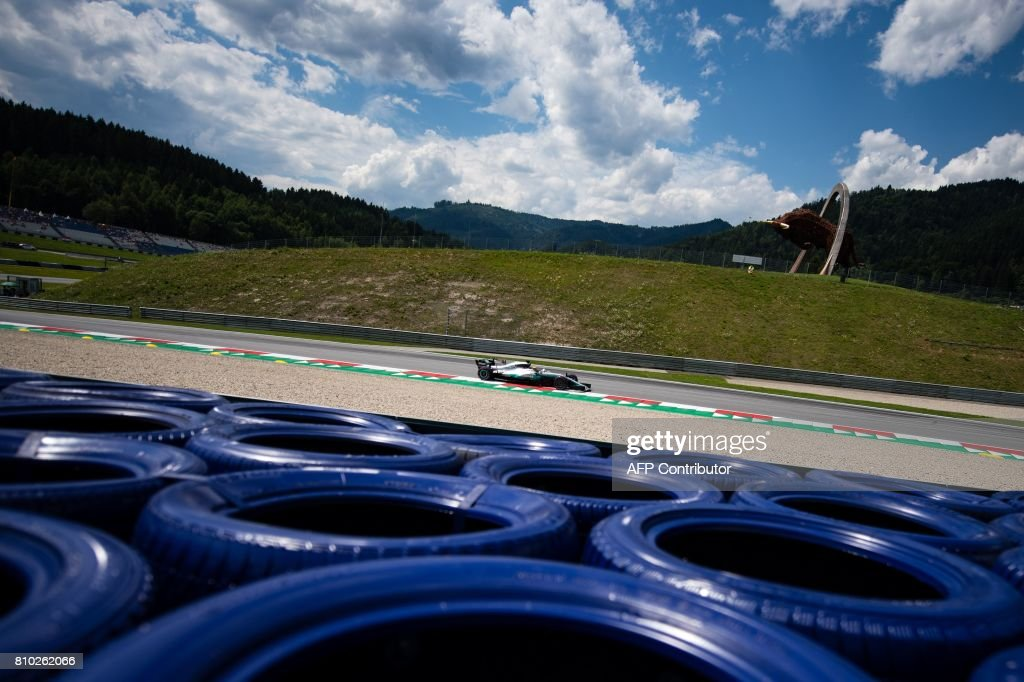 TOPSHOT - Mercedes' British driver Lewis Hamilton drives his car during the second practice session of the Formula One Austria Grand Prix at the Red Bull Ring in Spielberg, on July 7, 2017. /