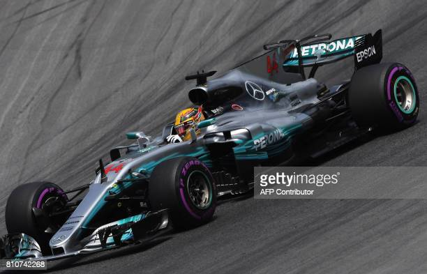 Mercedes' British driver Lewis Hamilton drives his car during the third practice session of the Formula One Austria Grand Prix at the Red Bull Ring...