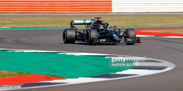 Mercedes' British driver Lewis Hamilton during the F1 70th Anniversary Grand Prix at Silverstone on August 9, 2020 in Northampton. - The race...