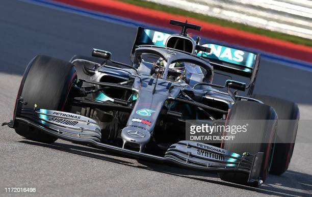 Mercedes' British driver Lewis Hamilton during the Formula One Russian Grand Prix at The Sochi Autodrom Circuit in Sochi on September 29, 2019.