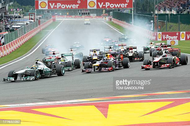 Mercedes' British driver Lewis Hamilton leads after the start of the at the SpaFrancorchamps circuit in Spa on August 25 2013 during the Belgium...