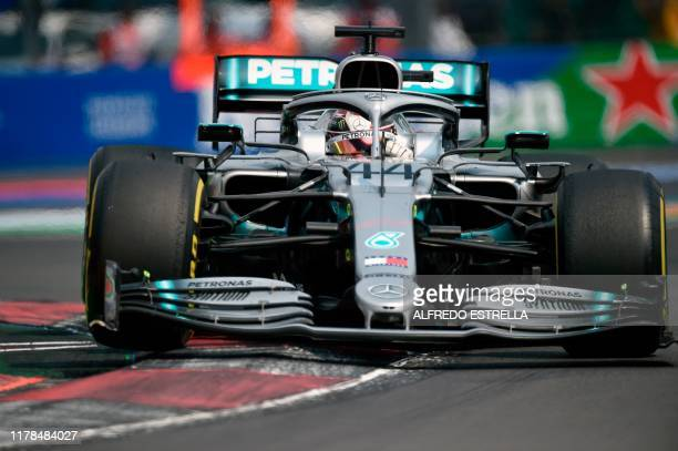 Mercedes British driver Lewis Hamilton powers his car during the F1 Mexico Grand Prix at the Hermanos Rodriguez racetrack in Mexico City on October...