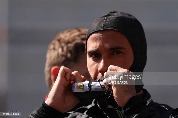 Mercedes' British driver Lewis Hamilton prepares for the start of the sprint session of the Formula One British Grand Prix at the Silverstone motor...