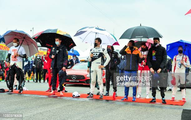 Mercedes' British driver Lewis Hamilton, Red Bull's Dutch driver Max Verstappen, AlphaTauri's French driver Pierre Gasly, McLaren's British driver...