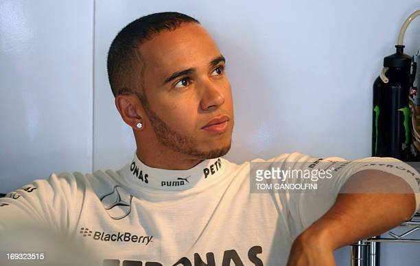 Mercedes' British driver Lewis Hamilton sits in the pits during the first practice session at the Circuit de Monaco in Monte Carlo on May 23 2013...