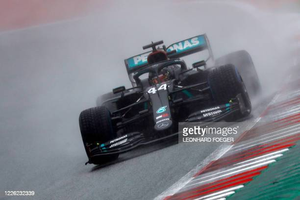 Mercedes' British driver Lewis Hamilton steers his car during the qualifying for the Formula One Styrian Grand Prix on July 11, 2020 in Spielberg,...