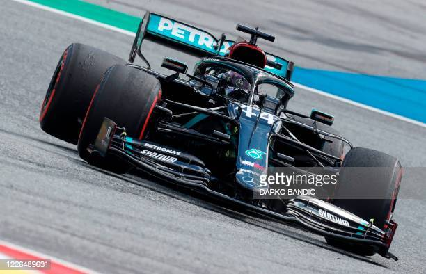 Mercedes' British driver Lewis Hamilton steers his car during the Formula One Styrian Grand Prix race on July 12, 2020 in Spielberg, Austria.