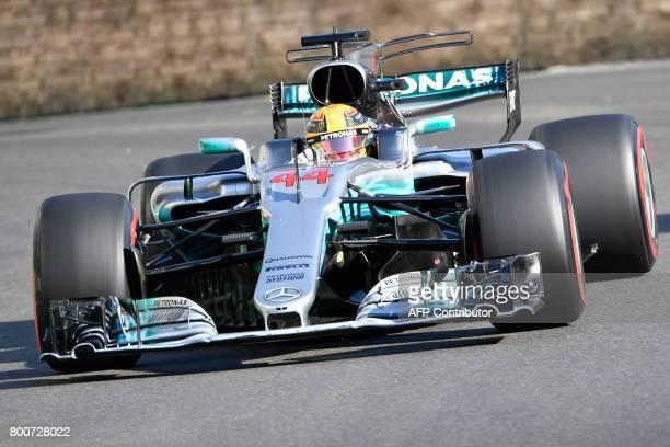 Mercedes' British driver Lewis Hamilton steers his car during the Formula One Azerbaijan Grand Prix at the Baku City Circuit in Baku on June 25 2017...