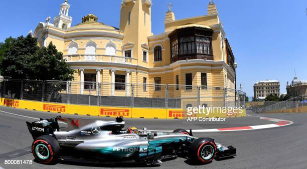 Mercedes' British driver Lewis Hamilton steers his car during the first practice session of the Formula One Azerbaijan Grand Prix at the Baku City...