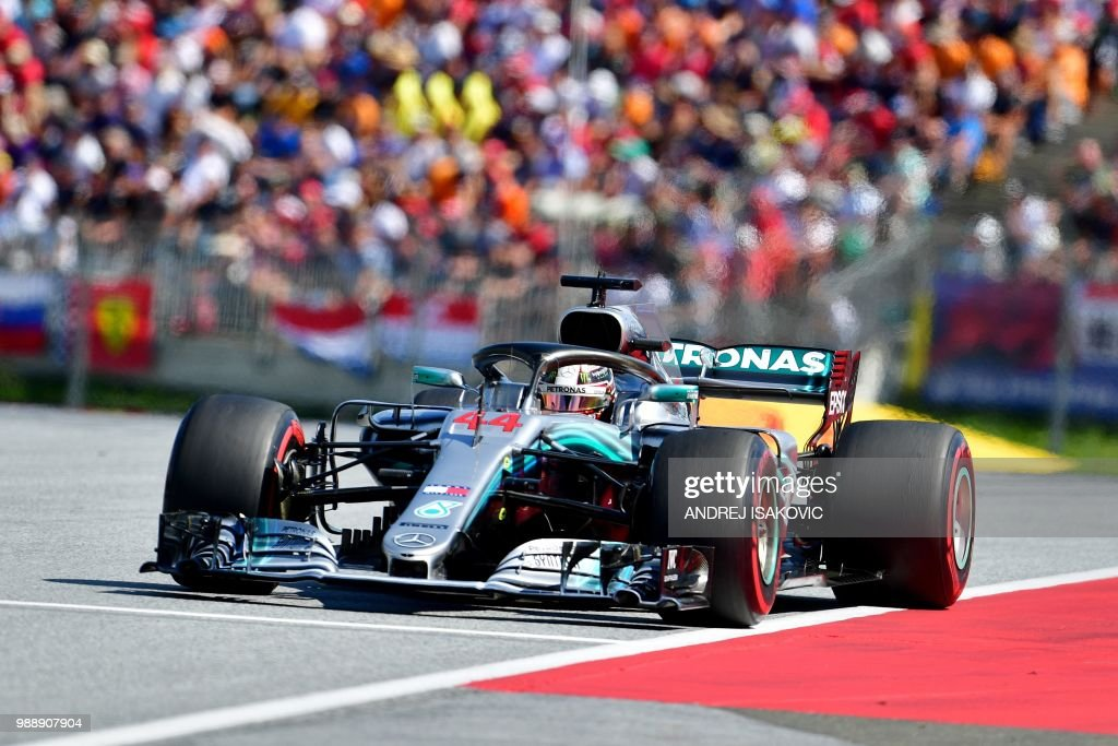 Mercedes' British driver Lewis Hamilton steers his car during the Austrian Formula One Grand Prix in Spielberg, central Austria, on July 1, 2018.