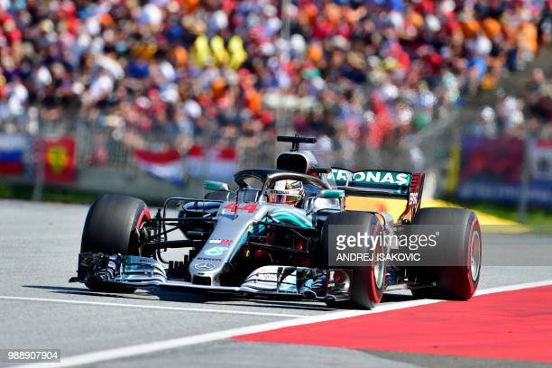 Mercedes' British driver Lewis Hamilton steers his car during the Austrian Formula One Grand Prix in Spielberg central Austria on July 1 2018