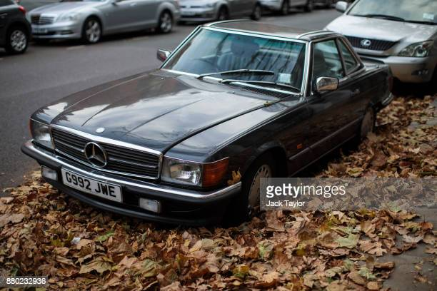 Mercedes car sits among fallen leaves on a road in Kensington on November 24 2017 in London England The American actress Meghan Markle will live at...