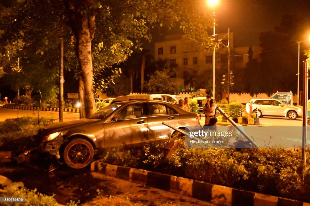 A Mercedes car smashed another car after traffic police tried to stop it for checking on Kasturba Gandhi Marg on Friday night, on August 11, 2017 in New Delhi, India. An allegedly drunk 19-year-old youth rammed a Mercedes car into another vehicle while trying to avoid a traffic check post in Delhi, police said on Saturday. The youth, identified as Dhruv Bagla, was arrested but released on bail. The driver of the other vehicle suffered minor injuries. Police identified him as Mahipal, who was on his way to the New Delhi railway station to pick up his employer Ajay Agarwal, a former director general of Tihar jail.