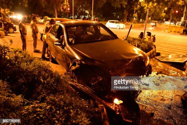 Mercedes car smashed another car after traffic police tried to stop it for checking on Kasturba Gandhi Marg on Friday night on August 11 2017 in New...