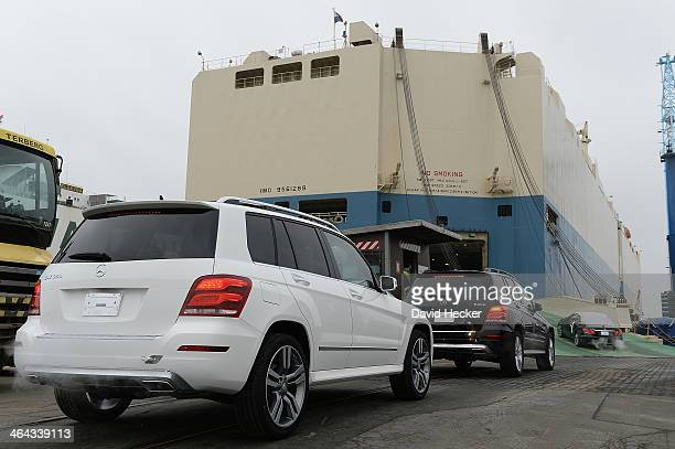 Mercedes cars destined for export overseas are loaded onto a ship on January 22 2014 in Bremerhaven Germany Bremerhaven is Europe's biggest port for...