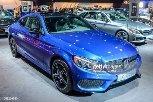 Mercedes C-class C 180 Coupe on display at Brussels Expo on January 13, 2017 in Brussels, Belgium. The Mercedes-Benz C-Class is available as 4-door...