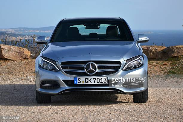 Mercedes C-Class stopped on the road