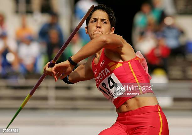 Mercedes Chilla of Spain competes during the women's Javelin Throw qualifier at the 10th IAAF World Athletics Championships on August 12, 2005 in...