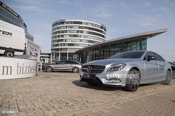 Mercedes CLS in front of MercedesBenzbuilding in Warsaw Poland on 13 October 2016