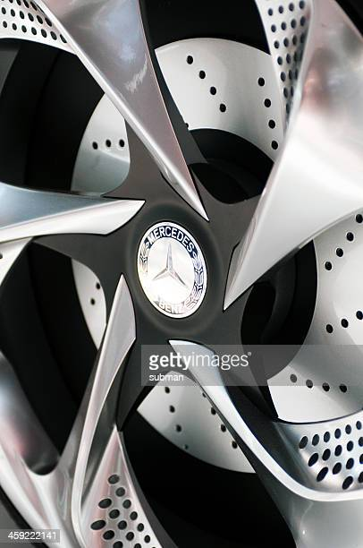 mercedes concept a-class logo on wheel - mercedes benz stock pictures, royalty-free photos & images