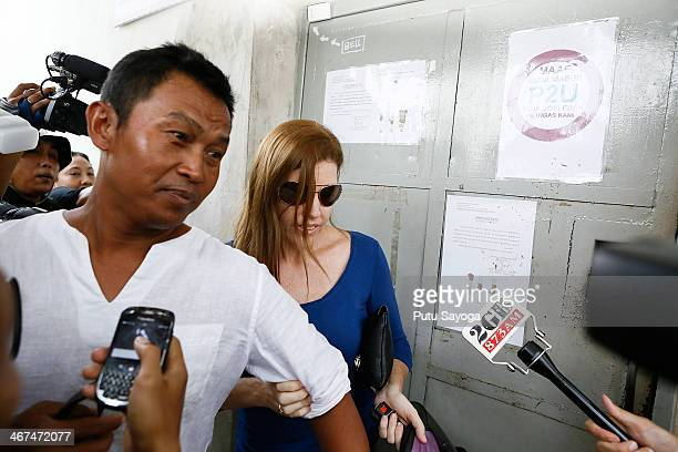 Mercedes Corby and her husband Wayan Widyartha leave Kerobokan Jail after visiting her sister Schapelle Corby on February 7 2014 in Denpasar Bali...