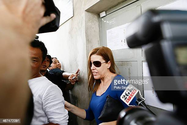 Mercedes Corby leaves Kerobokan Jail after visiting her sister Schapelle Corby on February 7 2014 in Denpasar Bali Indonesia Australian Drug...