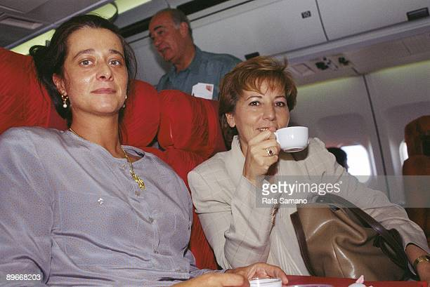 Mercedes de la Merced and Celia Villalobos PP politicians On a plane to the European Parliament in Strasbourg