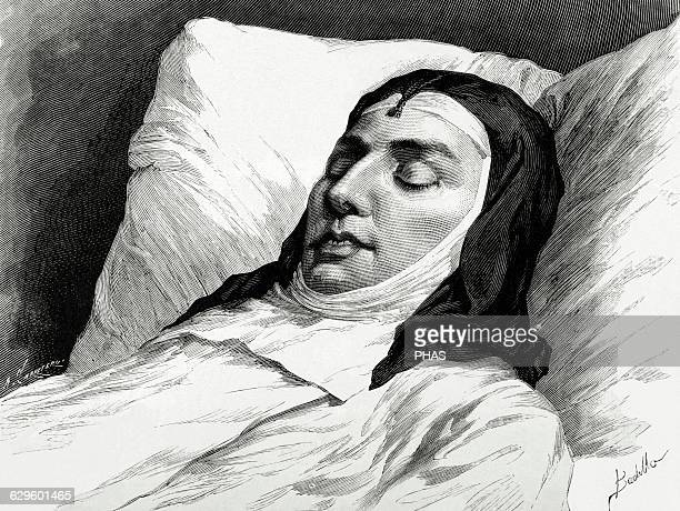 Mercedes de Orleans . Queen of Spain. First wife of King Alfonso XII. Death from Typhoid fever. Deathbed. Engraving by Arturo Carretero. La...