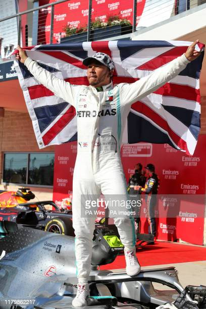 Mercedes driver Lewis Hamilton celebrates winning his sixth world championship after the United States Grand Prix at the Circuit of the Americas...
