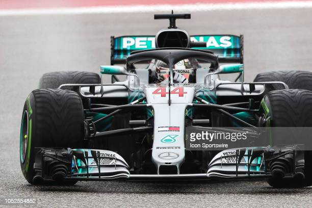 Mercedes driver Lewis Hamilton of Great Britain races through turn 15 during morning practice for the F1 United States Grand Prix on October 18 at...