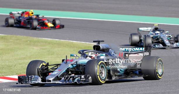 Mercedes driver Lewis Hamilton on his way to winning the Formula One Japanese Grand Prix in Suzuka, Mie Prefecture, on Oct. 7, 2018.