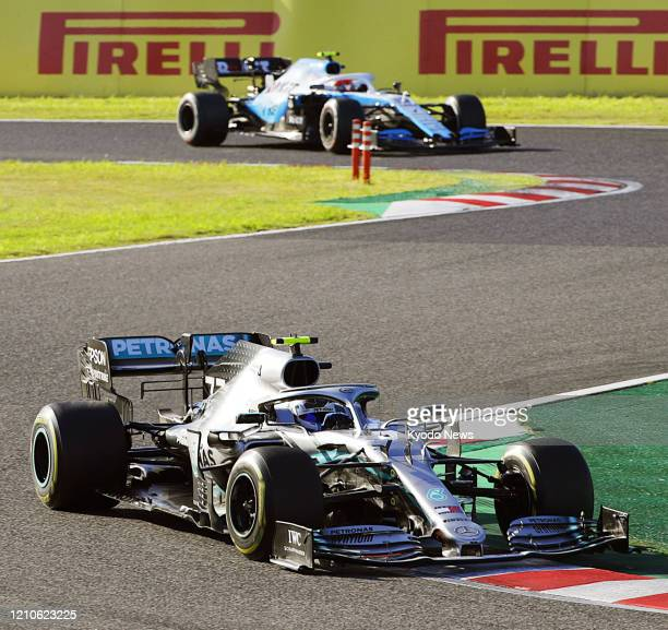 Mercedes driver Valtteri Bottas on his way to winning the Formula One Japanese Grand Prix in Suzuka, Mie Prefecture, on Oct. 13, 2019.
