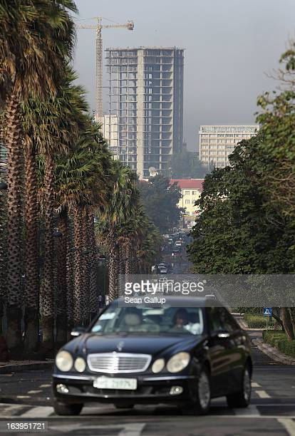 Mercedes drives up one of the main boulevards in the city center on March 18 2013 in Addis Ababa Ethiopia Ethiopia with an estimated 91 million...