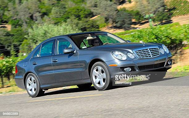 Mercedes E 550 sedan passes the Napa vineyards in St. Helena, California during a Mercedes-Benz USA?s press launch on Thursday, July 13, 2006 . The E...