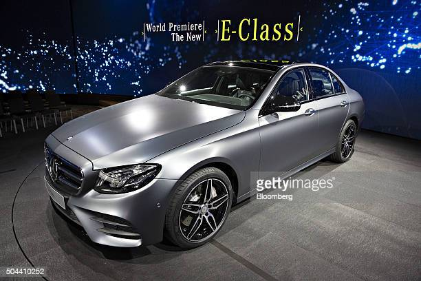 Mercedes EClass vehicle sits on display during a Daimler AG MercedesBenz event ahead of the 2016 North American Auto Show in Detroit Michigan US on...