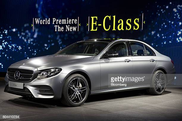 Mercedes EClass vehicle sits on display during Daimler AG MercedesBenz event ahead of the 2016 North American Auto Show in Detroit Michigan US on...
