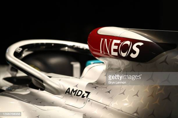 Mercedes F1 car and it's 2020 livery is displayed during a press conference regarding INEOS and Mercedes future partnership at The Royal Automobile...