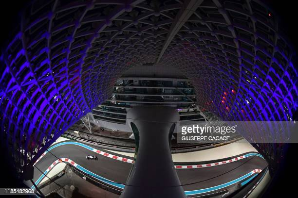 Mercedes F1 car competes during the second practice session on November 29 at the Yas Marina Circuit in Abu Dhabi, two days ahead of the final race...