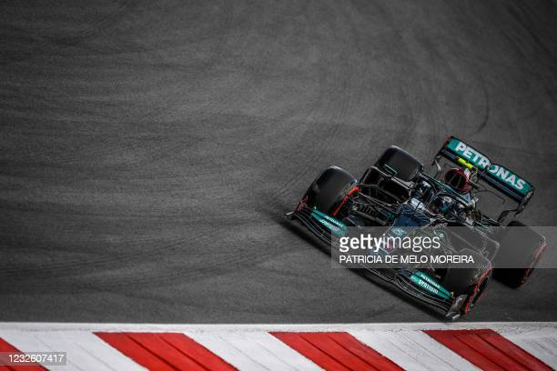 Mercedes' Finish dirver Valtteri Bottas drives during the first practice session of the Portuguese Formula One Grand Prix at the Algarve...