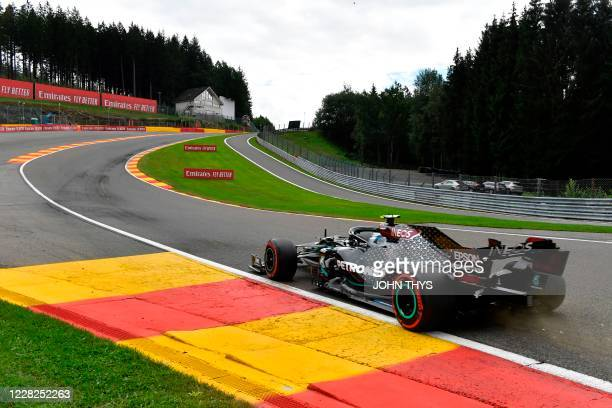 Mercedes' Finnish driver Valtteri Bottas competes during the qualifying session at the Spa-Francorchamps circuit in Spa on August 29, 2020 ahead of...